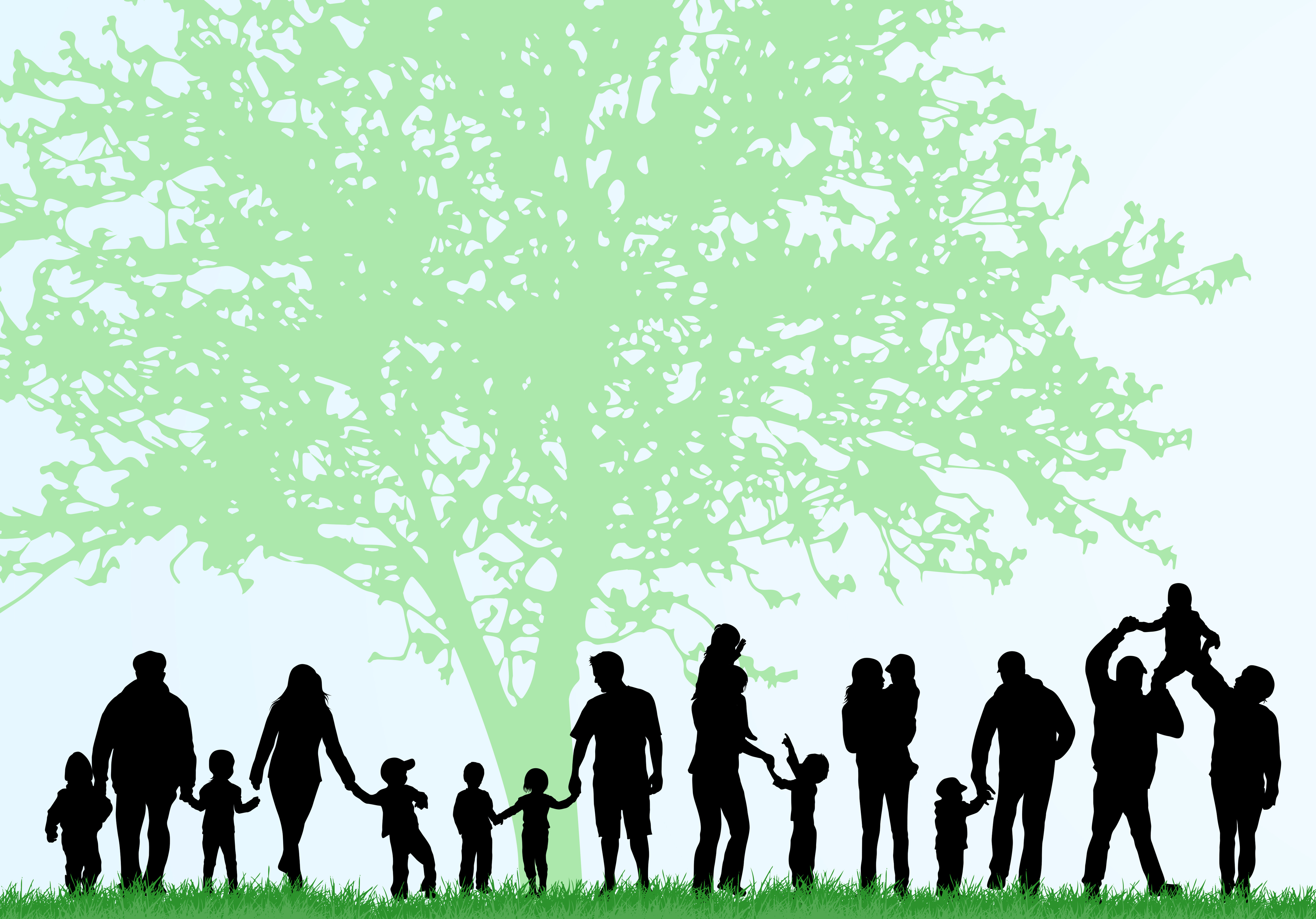 Big family silhouettes